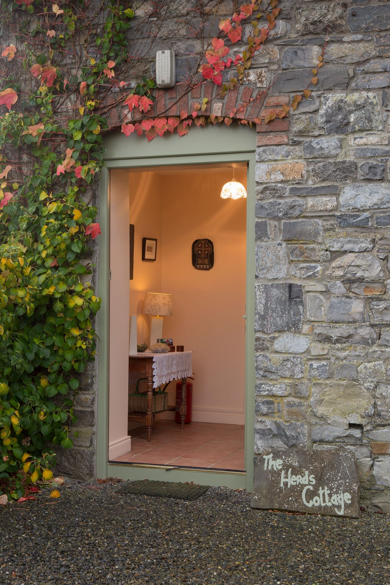Open Door Outside View Creeper Ivy Holiday-Homes-Ireland-Meath-Dunshaughlin-Self-Catering